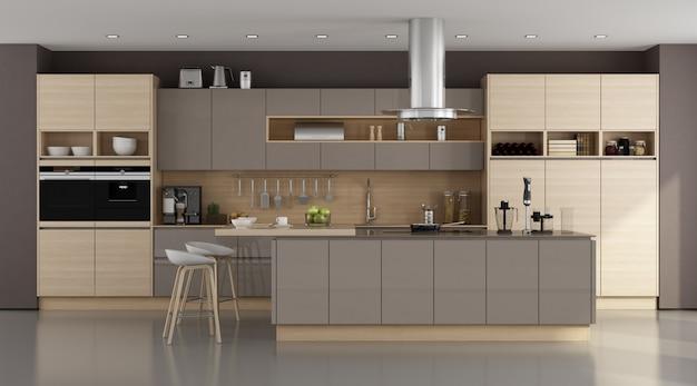 Moderne küche aus holz und braun