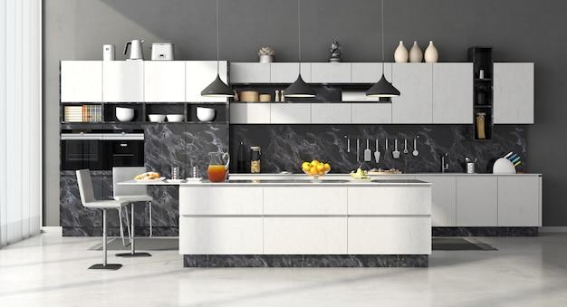 Moderne küche aus schwarz-weißem marmor mit insel und hockern