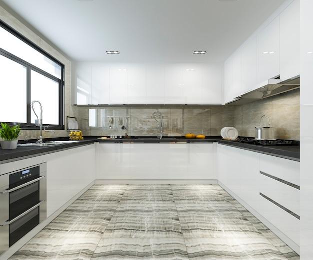 Moderne küche der skandinavischen weinlese der wiedergabe 3d mit speiseraum