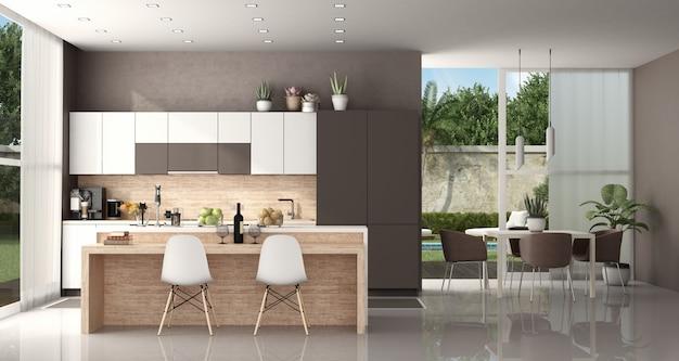 Moderne küche einer modernen villa