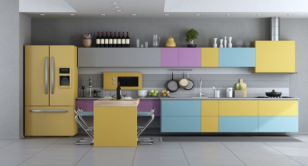 Moderne küche in pastellfarben