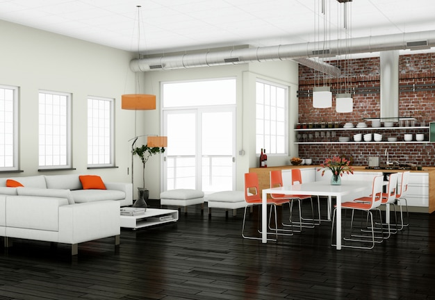 Moderne küche innenarchitektur mit stuhl