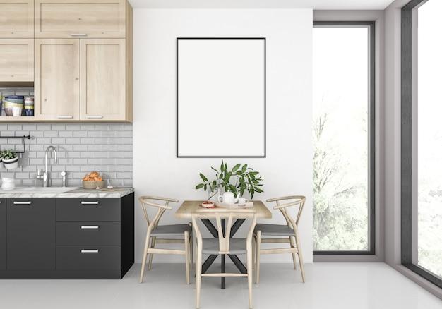 Moderne küche mit leerem vertikalem rahmen