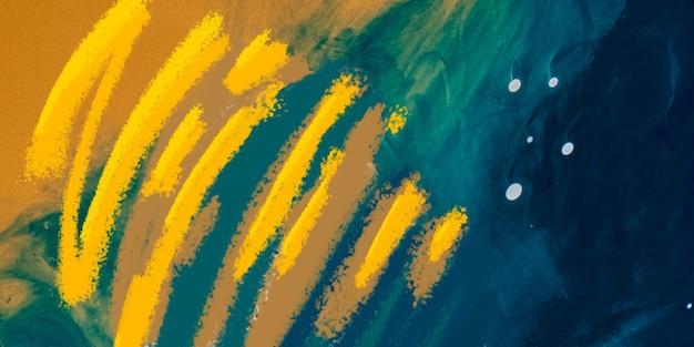 Moderne kunst, heller saftiger farbhintergrund. schwebende maltechnik. aquarelltapetendesign oder hintergrund für das gerät mit linien und spritzern in blauen, gelben farben.