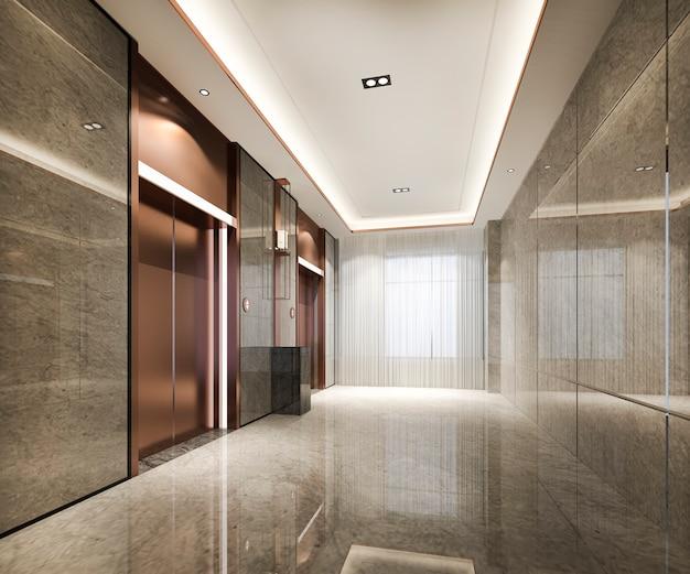 Moderne kupferaufzugsliftlobby 3d, die im geschäftshotel mit luxusdesign mit granitstein rendert