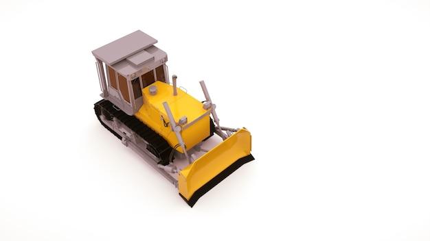 Moderne landwirtschaftliche maschinen, gelber traktor. industriemaschine mit eimer und spuren, 3d illustrationsobjekt lokalisiert auf weißem hintergrund. ausblick von oben.