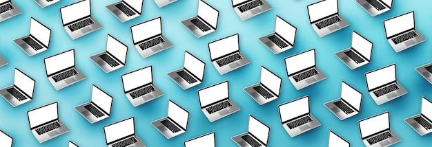 Moderne laptops auf blauem hintergrund. 3d-abbildung.