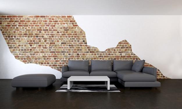 Moderne lebende innen- und möbeldekoration und backsteinmauermusterhintergrund