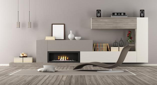 Moderne lounge mit kamin und chaiselongue