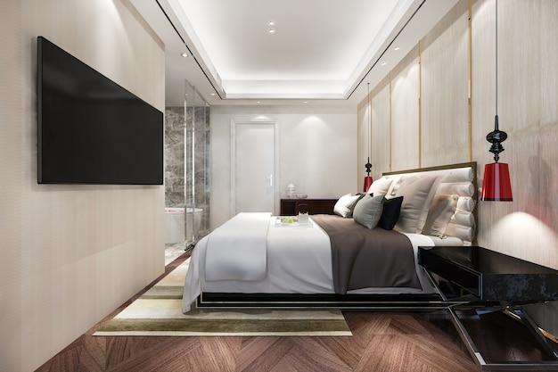 Moderne luxuriöse schlafzimmersuite und badezimmer
