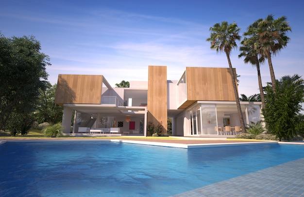 Moderne luxuriöse villa mit pool in einem tropischen garten