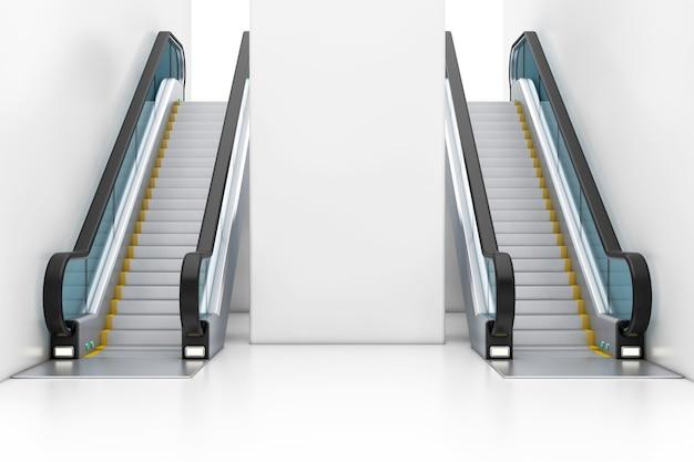 Moderne luxus-rolltreppen auf indoor-gebäude-einkaufszentrum, flughafen oder u-bahn-station extreme nahaufnahme. 3d-rendering