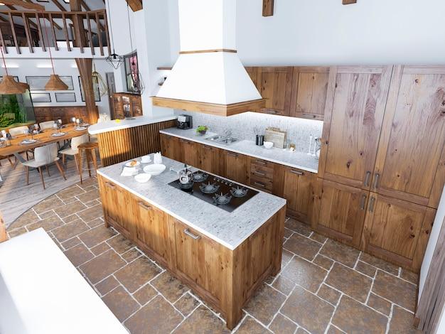 Moderne luxusküche im loftstil und große küche mit einer auswahl an hellem holz