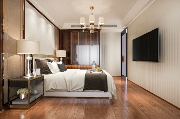 Moderne luxusschlafzimmersuite der wiedergabe 3d im hotel mit garderobe und weg im wandschrank