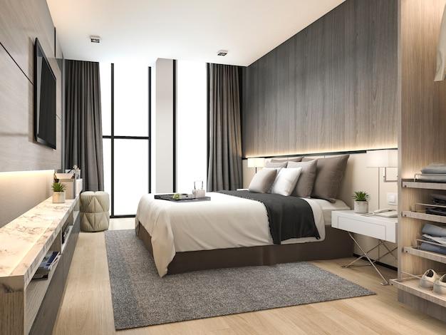Moderne luxuxschlafzimmersuite der wiedergabe 3d im hotel mit garderobe und gehen herein wandschrank