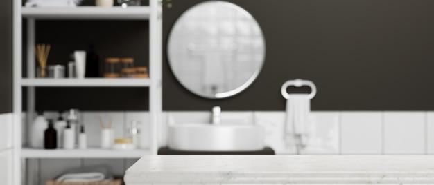 Moderne marmortischplatte für die montage über modernem zeitgenössischem badezimmerinnenraum 3d-rendering