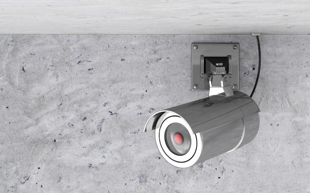 Moderne metallische cctv-kamera an der decke