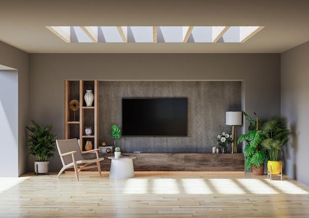 Moderne minimalistische innenschrank-tv-wand, die in einem zementraum mit einer betonwand montiert ist. 3d-rendering