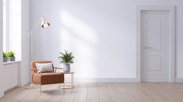 Moderne mitte des jahrhunderts und minimalistisches interieur des wohnzimmers