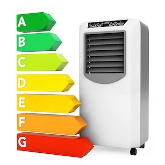 Moderne mobile klimaanlage in der nähe der energieeffizienz-bewertungstabelle auf weißem hintergrund. 3d-rendering.