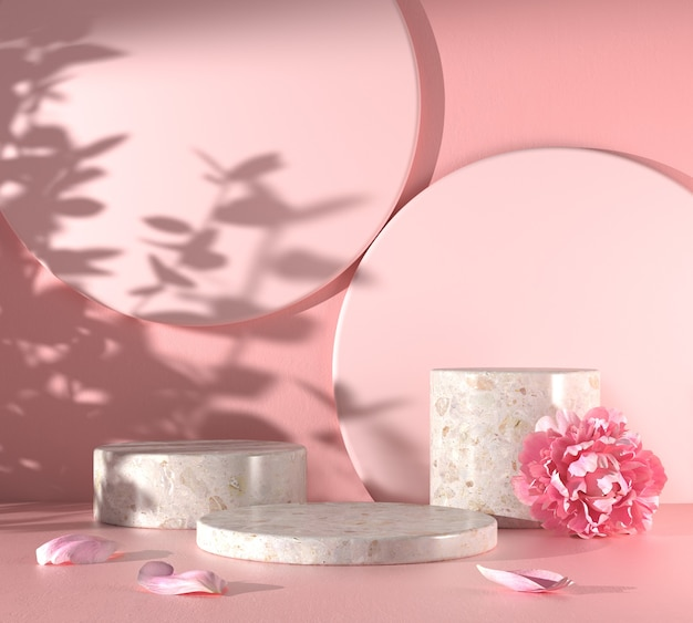 Moderne mockup podium set rosa szene mit pfingstrosenblume und sonnenlicht schatten