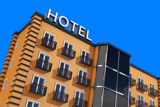 Moderne orange hotelgebäude auf einem blauen himmelshintergrund. 3d-rendering