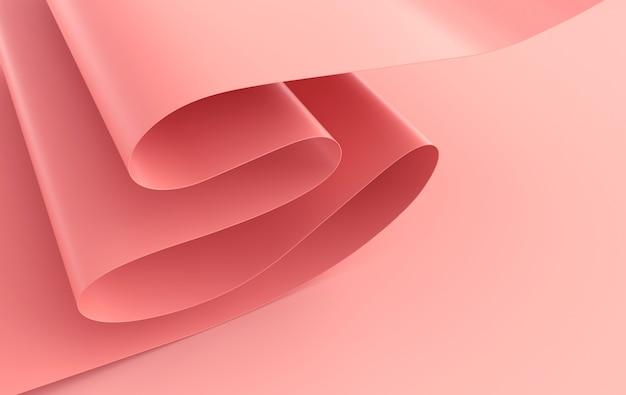 Moderne papierkunst abstrakter hintergrund 3d render papierwellen realistischer trendiger handwerksstil
