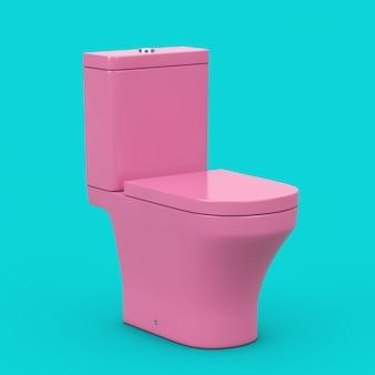 Moderne rosa keramik toilettenschüssel im duotone-stil auf blauem grund. 3d-rendering