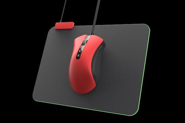 Moderne rote gaming-maus auf professionellem pad isoliert auf schwarz mit beschneidungspfad