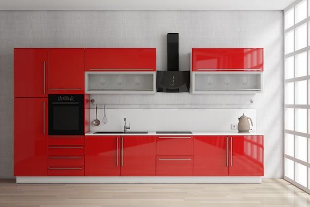 Moderne rote küchenmöbel mit küchenutensilien in der nähe von fenster extreme nahaufnahme. 3d-rendering