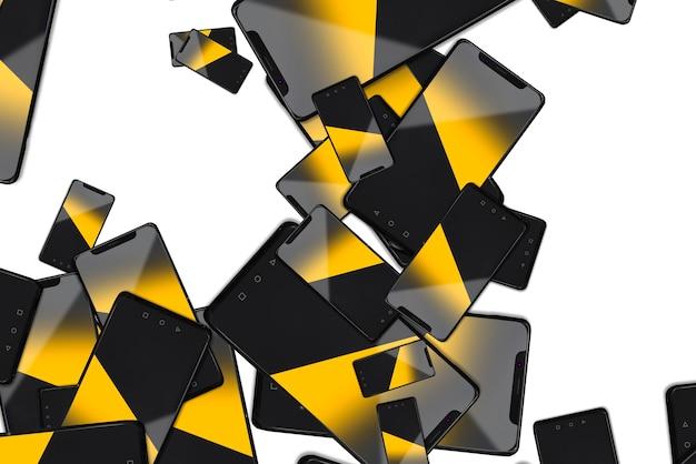 Moderne schwarze smartphones fallen