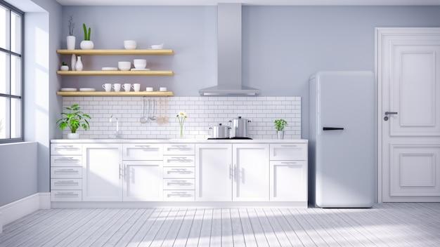 Moderne skandinavische art, innenraum .3drender des küchenweißraumes