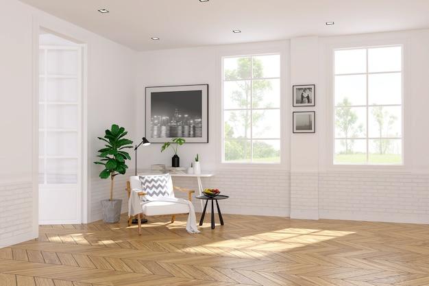 Moderne skandinavische art, wohnzimmerinnenkonzept, weißer lehnsessel auf holzfußboden mit w