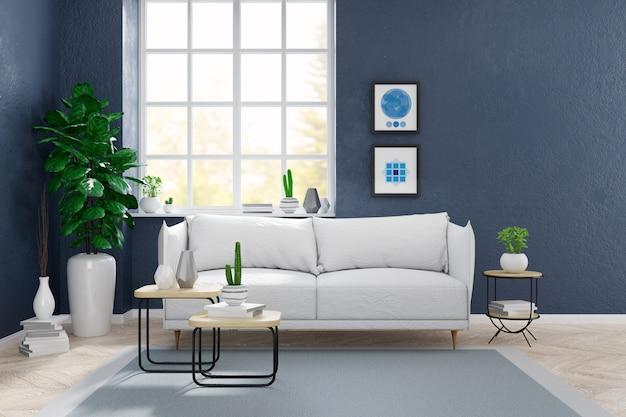 Moderne skandinavische art, wohnzimmerinnenkonzept, weißes sofa mit anlage auf holzfußboden mit blauer schmutzwand, 3d übertragen