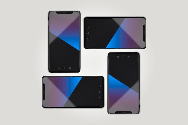Moderne smartphones auf grauem hintergrund