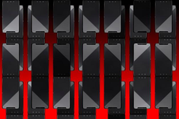 Moderne smartphones auf rotem hintergrund