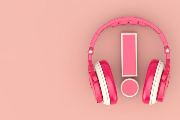 Moderne spaß-jugendlich-rosa-kopfhörer mit ausrufezeichen auf einem rosa hintergrund. 3d-rendering