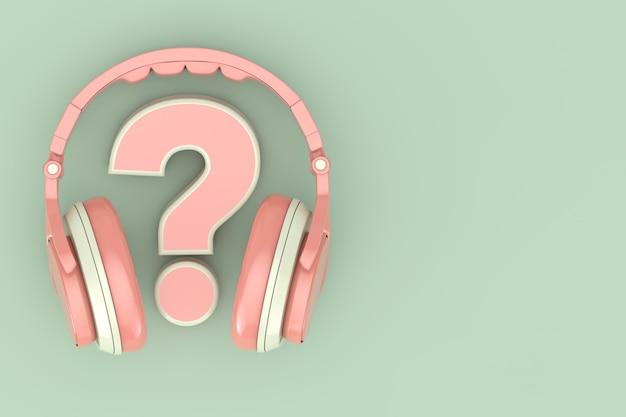 Moderne spaß-jugendlich-rosa-kopfhörer mit fragezeichen auf grünem hintergrund. 3d-rendering