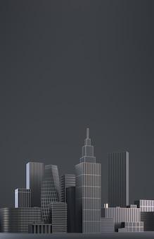 Moderne stadtskyline, stadtsilhouette, 3d illustration im schwarzweiss-entwurf. kopieren sie platz und schwarzen matten hintergrund. 3d-rendering