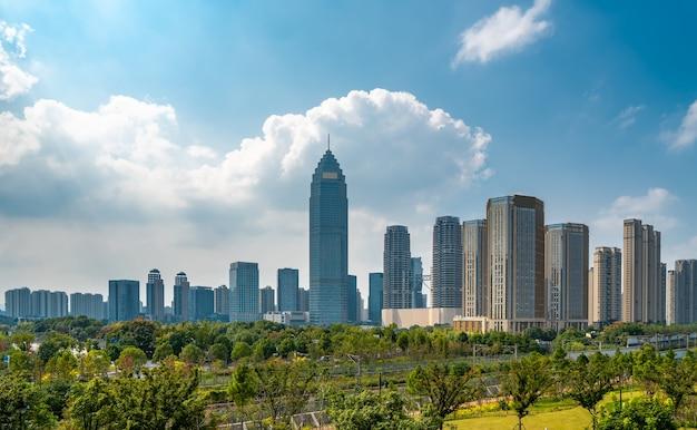 Moderne städtische architekturlandschaft von shaoxing china