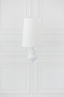 Moderne stehlampe in der nähe von weißen wänden mit klassischen leisten