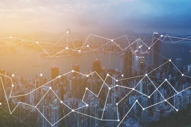 Moderne technologien zur verbindung des städtischen stadtbildes aus der luft.