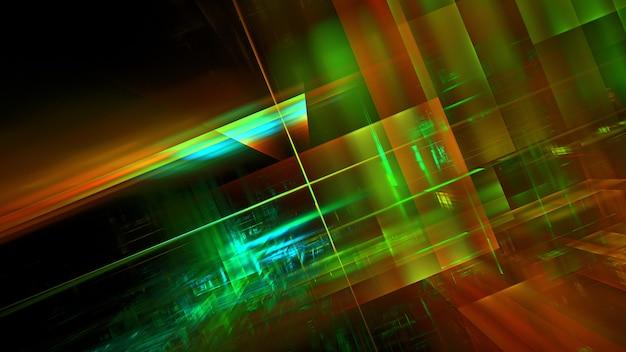 Moderne technologische digitale büroräume, design von gebäuden und interner kommunikation, architekturprojekt. 3d-rendering