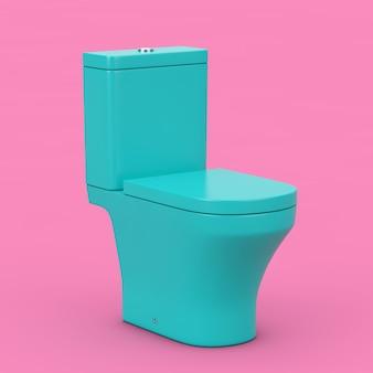 Moderne toilettenschüssel aus blauer keramik im duotone-stil auf rosa hintergrund. 3d-rendering