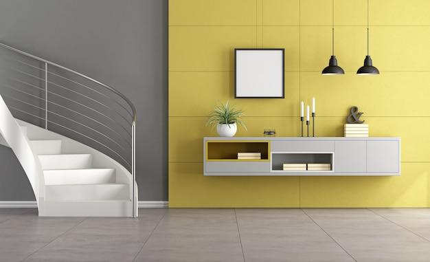 Moderne treppe in einem minimalistischen wohnzimmer mit sideboard