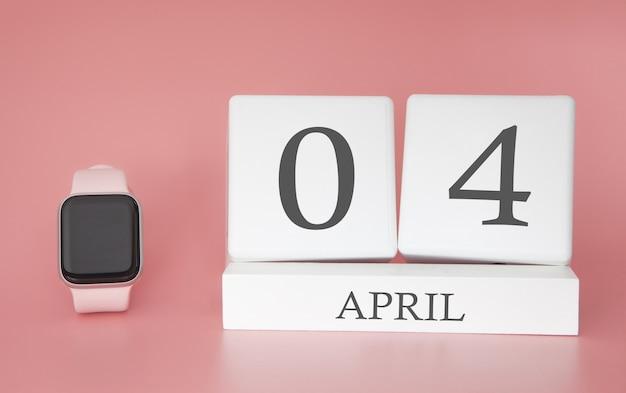 Moderne uhr mit würfelkalender und datum 04. april auf rosa hintergrund. konzept frühlingszeit urlaub.