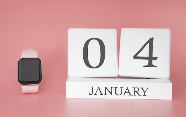 Moderne uhr mit würfelkalender und datum 04. januar auf rosa hintergrund. konzept winterzeit urlaub.