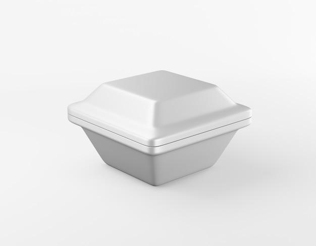 Moderne verpackung quadratische box glänzendes metall auf weiß