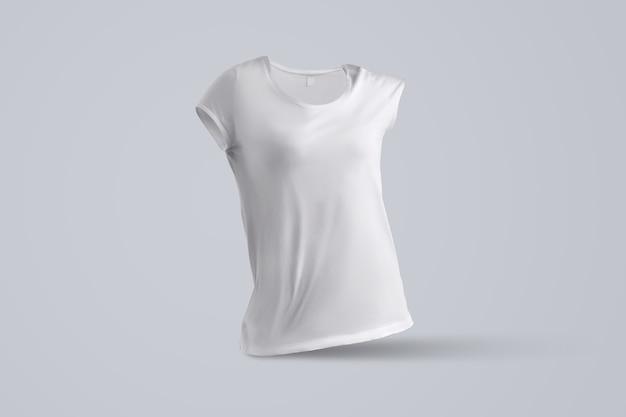 Moderne vorlage mit form des leeren weiblichen t-shirts ohne körper einzeln auf grauem hintergrund, vorderansicht. mockup kann für ihre vitrine verwendet werden.