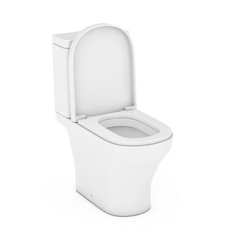 Moderne weiße keramik-wc-schüssel auf weißem hintergrund. 3d-rendering